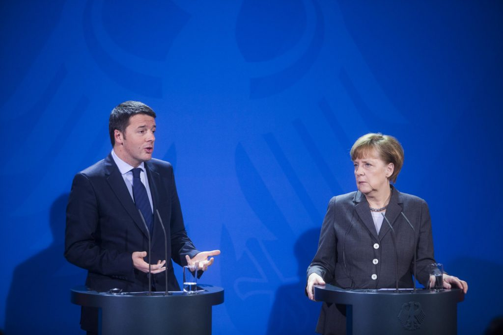 Angela Merkel und der italienische Ministerpr䳩dent Matteo Renzi bei der PK nach den deutsch-italienischen Regierungskonsultationen in Berlin / 170314 *** A. Merkel and Italian Prime Minister M. Renzi at the press conferenceafter the plenary meeting of the german Italian Government consultations in Berlin, 17 Mar 2014 *** Lapresse Only italy *** Local Caption *** 18316653