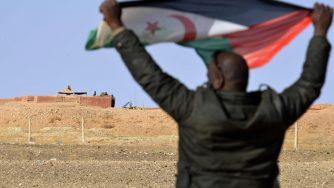 Un uomo saharawi con una bandiera del Fronte Polisario (LaPresse)