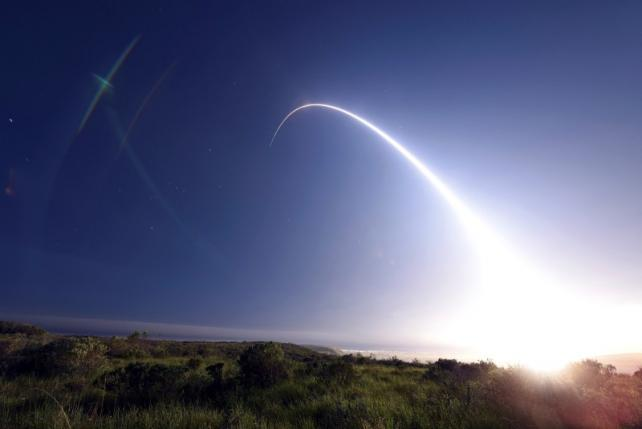 An unarmed Minuteman III intercontinental ballistic missile launches during an operational test from Vandenberg Air Force Base, California at 11:01 p.m. on February 25, 2016.   REUTERS/Kyla Gifford/U.S. Air Force Photo