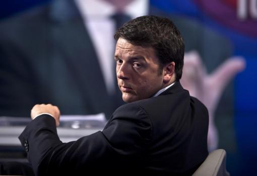Il segretario del Partito Democratico, Matteo Renzi, a 'Porta a Porta', il 21 gennaio 2014 a Roma. ANSA/MASSIMO PERCOSSI