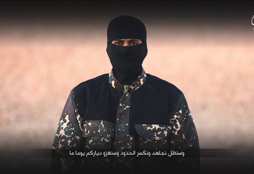A masked man speaks in this still image from a handout video obtained on January 4, 2016 from a social media website which has not been independently verified. Britain was on Monday examining the Islamic State video showing a young boy in military fatigues and an older masked militant who both spoke with British accents. The propaganda video, which could not be independently verified, also shows the killing of five men accused of spying for the West.   REUTERS/Social Media via Reuters TVATTENTION EDITORS - THIS IMAGE HAS BEEN SUPPLIED BY A THIRD PARTY. IT IS DISTRIBUTED, EXACTLY AS RECEIVED BY REUTERS, AS A SERVICE TO CLIENTS. REUTERS IS UNABLE TO INDEPENDENTLY VERIFY THE AUTHENTICITY, CONTENT, LOCATION OR DATE OF THIS IMAGE. FOR EDITORIAL USE ONLY. NOT FOR SALE FOR MARKETING OR ADVERTISING CAMPAIGNS. NO RESALES. NO ARCHIVE. THIS EDIT CONTAINS USER GENERATED CONTENT THAT WAS UPLOADED TO A SOCIAL MEDIA WEBSITE. IT HAS BEEN CHECKED BY REUTERS' SOCIAL MEDIA TEAM AND REVIEWED BY A SENIOR EDITOR. REUTERS IS CONFIDENT THE EVENTS PORTRAYED ARE GENUINE.        - RTX20YNZ