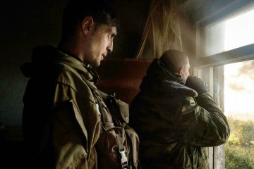 "Ukraine; Donbass region; Donetsk; 02/10/14  The commander Givi observes from his headquarters the battle for the airport of Donetsk. Givi is the commander of the separatist battalion ""Somalia""."