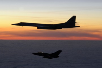 A Russian TU-160 Blackjack aircraft is escorted by a Tornado F3.  On 10th March 2010, two RAF Tornado F3 fighter aircraft of 111(Fighter) Squadron were scrambled from RAF Leuchars (Fife) in the early hours of the morning to intercept two Russian TU-160 Blackjack aircraft, which were approx 100nm to the west of Stornaway on the North-West coast of Scotland.    The Tornadoes shadowed the Russian aircraft as they progressed south before the Blackjacks turned north, short of the Northern Irish coast, exiting UK airspace.    RAF Leuchars fighters have successfully scrambled to intercept  Russian aircraft on more than 20 occasions since the start of 2009. The Tornado F3 is planned to go out of RAF Service in 2011; RAF Leuchars will become the RAFÕs second Typhoon fighter base later this year.