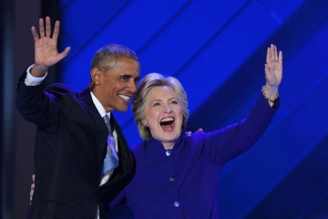 President Barack Obama and Democratic President Nominee Hillary Clinton wave on stage during the third day of the Democratic National Convention on July 27, 2016 at the Wells Fargo Center, Philadelphia, Pennsylvania, Photo by Olivier Douliery/Abacapress.com  556945 Convention Democratica a Philadelphia, 3 giorno LaPresse  -- Only Italy