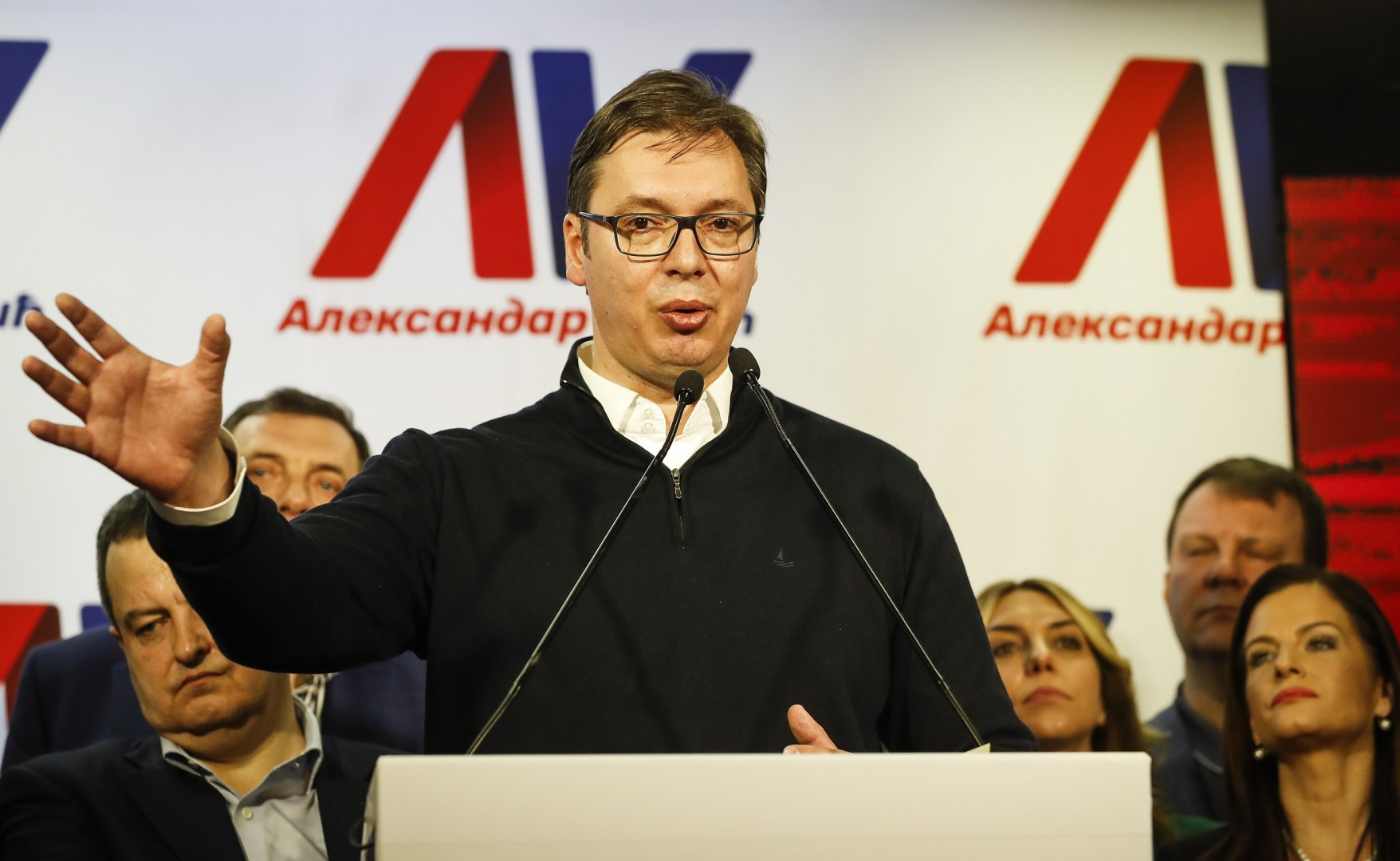 BELGRADE, SERBIA - APRIL 02: Presidential candidate and Serbian Prime Minister Aleksandar Vucic speaks during a press conference on April 2, 2017 in Belgrade, Serbia.  According to the research Vucic won about 55 percent of the vote, above the 50 percent threshold required to win in the first round. (Photo by Srdjan Stevanovic/Getty Images)