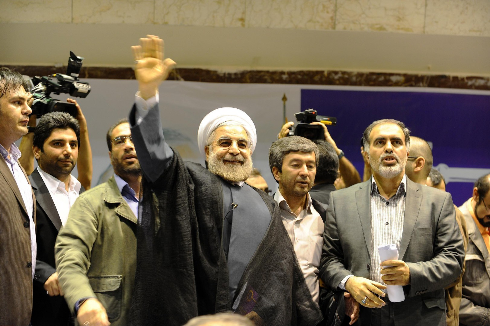 DR HASSAN ROHANI (BORN 12 NOVEMBER 1948) WITH HIS SUPPORTER'S. ON 7 MAY 2013, IRANIAN POLITICIAN AND MUJTAHID HASSAN ROUHANI REGISTERED FOR THE UPCOMING PRESIDENTIAL CAMPAIGN THAT WILL BE HELD ON 14 JUNE 2013. HE SAID THAT HE WILL PREPARE A -CIVIL RIGHTS CHARTER-, RESTORE THE ECONOMY AND IMPROVE ROCKY RELATIONS WITH THE WEST IF HE IS ELECTED. TEHRAN, IRAN -12/06/2013./FARNOOD_F1100.029 %_ 00659469  _%