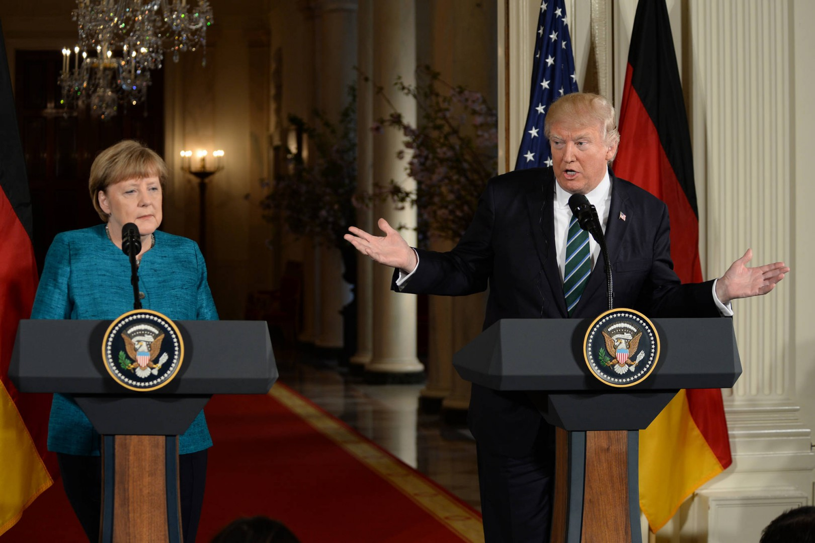 MARCH 17, 2017, WASHINGTON, DISTRICT OF COLUMBIA, U.S., MARCH 17, 2017- THE WHITE HOUSE- WASHINGTON DC..PRESIDENT DONALD TRUMP WELCOMES GERMAN CHANCELLOR ANGELA MERKEL TO THE WHITE HOUSE. TRUMP AND MERKEL HOLD A JOINT PRESS CONFERENCE...PHOTOS BY: , IMAGECATCHER NEWS (CREDIT IMAGE: (C) CHRISTY BOWE/GLOBE PHOTOS VIA ZUMA WIRE) ZSELECT, DSC_5457.JPG, ZWIRE, ZUMAPRESS.COM, THEPICTURESOFTHEDAY.COM, ZAGENCY, ZGLOBE, ZLAST24, 20170317_ZAF_BW2_025.JPG, 20170317_ZAF_BW2_025.JPG