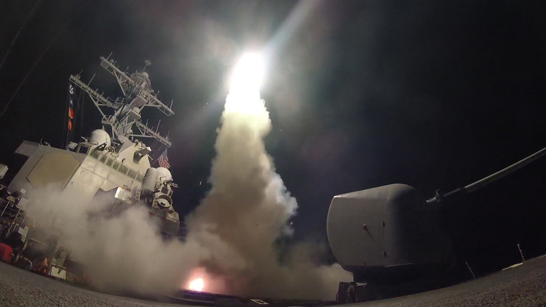 The guided-missile destroyer USS Porter (DDG 78) conducts strike operations while in the Mediterranean Sea, April 7, 2017. The US has carried out a missile attack against an air base in Syria in response to a suspected chemical weapons attack on Khan Sheikhoun rebel-held town. The Pentagon said 59 Tomahawk cruise missiles were fired at 04:40 Syrian time (01:40 GMT) from USS Porter and USS Ross destroyers in the eastern Mediterranean. Photo by US Navy via ABACAPRESS.COM