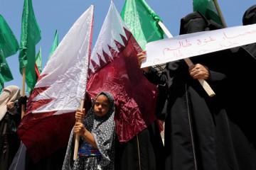 manifestazione per il Qatar a Gaza