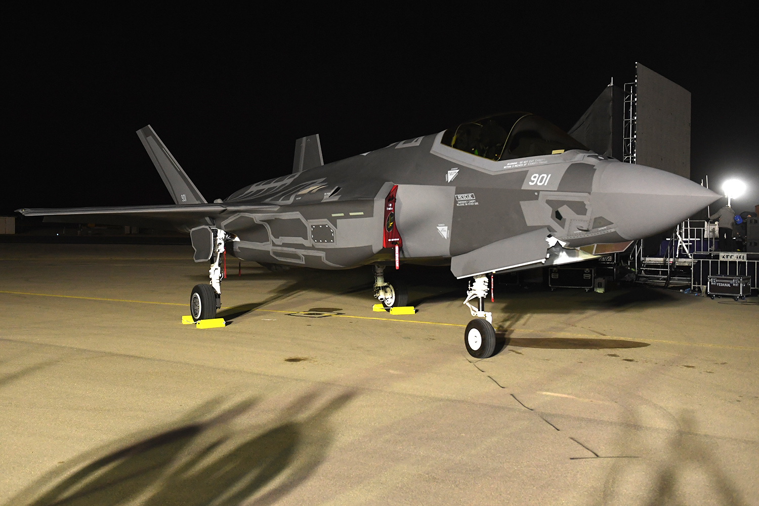"""During a festive ceremony at Nevatim Air Force Base in southern Israel, on Monday, December 12, 2016, Israel received its first two fifth-generation F-35 Joint Strike Fighters, code-named by the Israeli Air Force as """"Adir,"""" (The Mighty One). The ceremony included thousands of invitees, and speeches by Prime Minister Benjamin Netanyahu and U.S. Secretary of Defense Ash Carter."""