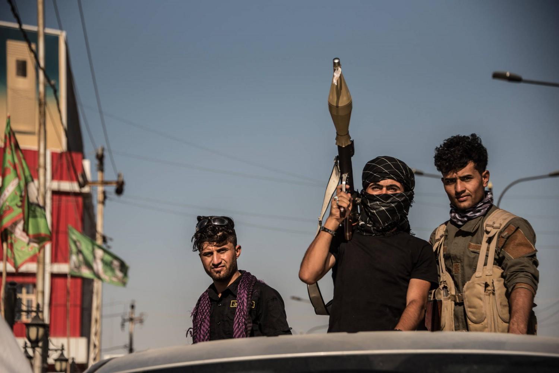 Uomini delle milizie Hashd al Shaabi nella zona turcmena di Kirkuk
