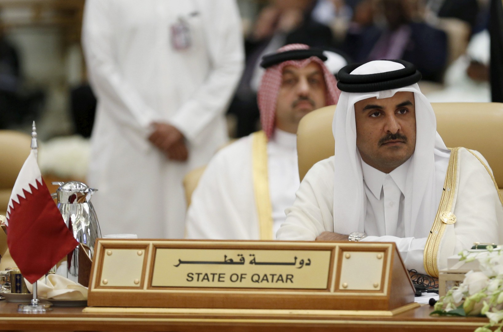 FILE PHOTO - The Emir of Qatar Tamim bin Hamad al-Thani attends the final session of the South American-Arab Countries summit, in Riyadh November 11, 2015. REUTERS/Faisal Al Nasser/File Photo