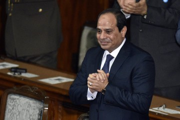 Egyptian President Abdel Fattah al-Sisi reacts upon his arrival at the House of Representatives of the parliament in Tokyo, Japan, 29 February 2016. The Egyptian President is currently on a four-day visit to Japan.  ANSA/FRANCK ROBICHON