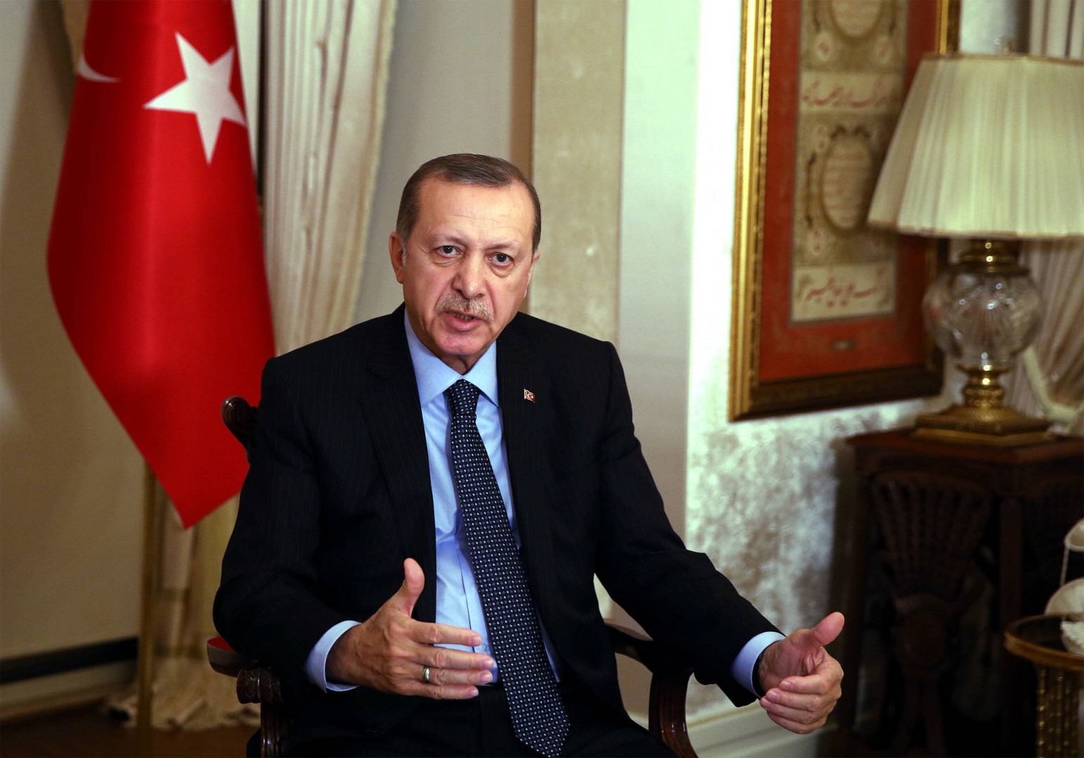 DECEMBER 19, 2016, ANKARA, TURKEY, TURKEY S PRESIDENT RECEP TAYYIP ERDOGAN, TALKS REGARDING THE RUSSIAN AMBASSADOR ANDREI KARLOV S ASSASSINATION EARLIER MONDAY, AT THE PRESIDENTIAL PALACE IN ANKARA, TURKEY, MONDAY, DEC. 19, 2016. (CREDIT IMAGE: (C) PRENSA INTERNACIONAL VIA ZUMA WIRE) RECEP, TAYYIP, ERDOGAN, TURKEY, RUSSIA, AMBASSADOR, ZUMAPRESS.COM, THEPICTURESOFTHEDAY.COM, ZSELECT, ZAGENCY, Z_161220_004POOLPI3659.JPG, ZWIRE, ZLAST24, 20161219_ZAA_P124_007.JPG, 20161219_ZAA_P124_007.JPG