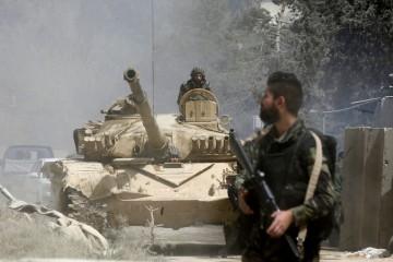 Un carro armato siriano nella Ghouta orientale