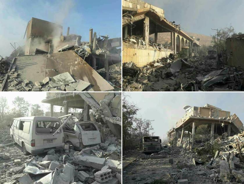 Gli effetti del bombardamento nei dintorni di Homs.