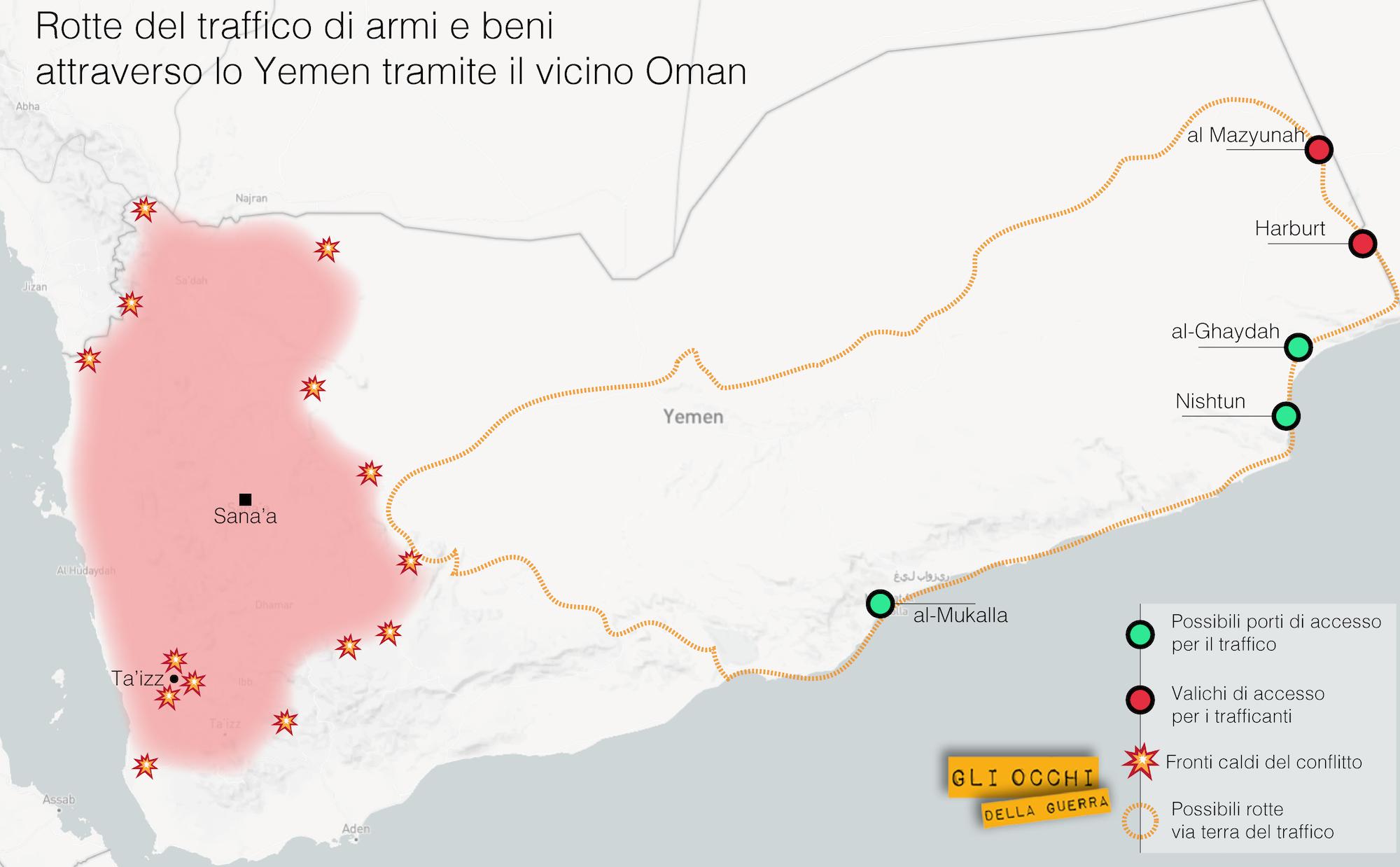 yemen rotte via terra