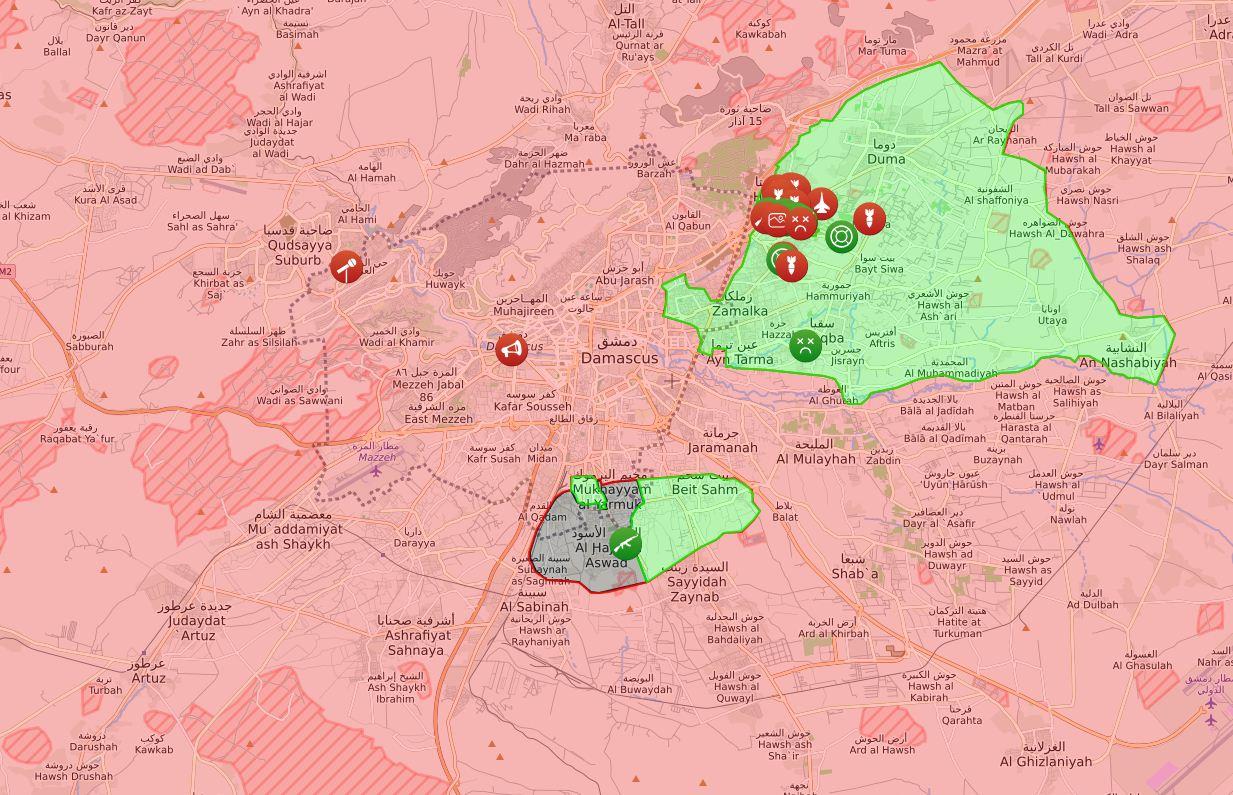 Le zone controllate dai ribelli nei pressi di Damasco all'inizio del 2018 (Syrialiveuamap)