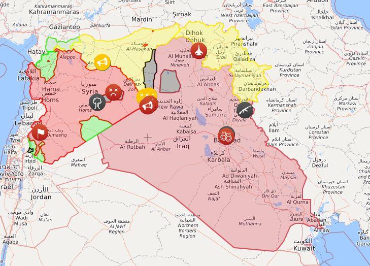 In nero i territori controllati dallo Stato islamico in Siria e in Iraq nel maggio del 2016 (Liveuamap)