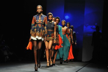 A model presents a creation by the Taibo Bacar fashion house during African Fashion Week at Melrose Arch in Johannesburg. Picture: IHSAAN HAFFEJEE (27.10.2012)