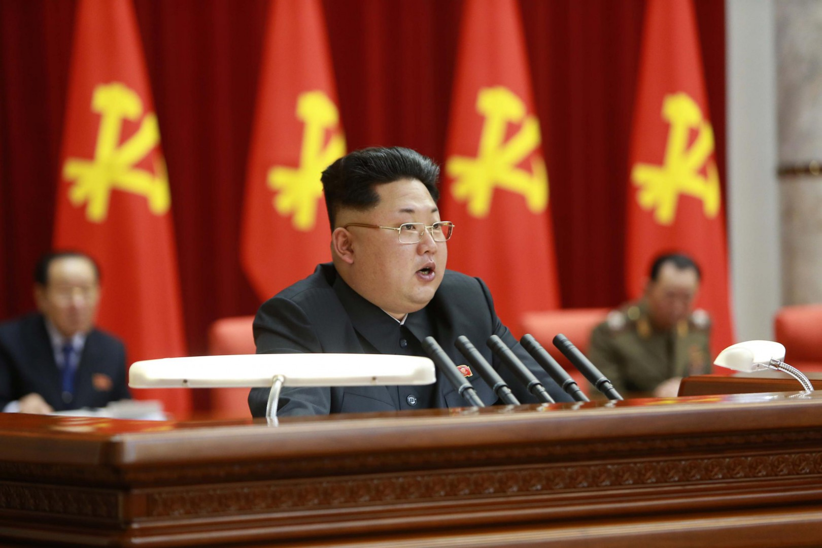"(150219) -- PYONGYANG, Feb. 19, 2015 (Xinhua) -- Photo provided by Korean Central News Agency (KCNA) on Feb. 19, 2015 shows an enlarged meeting of the Political Bureau of the Central Committee of the Workers' Party of Korea (WPK) taking place in Pyongyang on Wednesday under the guidance of top leader of the Democratic People's Republic of Korea (DPRK) Kim Jong Un. A resolution adopted at the meeting underscored the need to stick to and carry out the behests of late leader Kim Jong Il. The DPRK's top leader Kim Jong Un made a concluding speech at the meeting, in which he emphasized that ""President Kim Il Sung's and Kim Jong Il's behests concerning the problems of food and clothing essential should be carried out before any other behests."" (Xinhua/KCNA) ****Authorized by ytfs****"