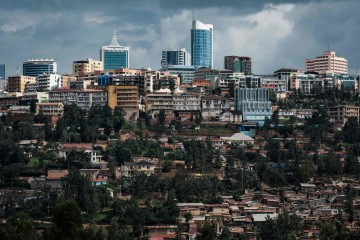 A picture taken on April 29, 2018 shows a view of city center from the Kigali Genocide Memorial in Kigali, Rwanda. According to the main association of the genocide survivors IBUKA, the word for ìrememberî in Kinyarwanda, four pits have discovered at the local residentís house by survivorís information at the begging of April, 2018 in Kabuga, the outskirts of Kigali. By the numbers of thighbone, 207 bodies have been found from the first pit which reaches about 25 meters deep. Around 800,000 people were slaughtered in Rwanda between April and July 1994 at the instigation of the hardline Hutu government. / AFP PHOTO / Yasuyoshi CHIBA A picture taken on April 29, 2018 shows a view of city center from the Kigali Genocide Memorial in Kigali, Rwanda. According to the main association of the genocide survivors IBUKA, the word for ìrememberî in Kinyarwanda, four pits have discovered at the local residentís house by survivorís information at the begging of April, 2018 in Kabuga, the outskirts of Kigali. By the numbers of thighbone, 207 bodies have been found from the first pit which reaches about 25 meters deep. Around 800,000 people were slaughtered in Rwanda between April and July 1994 at the instigation of the hardline Hutu government. / AFP PHOTO / Yasuyoshi CHIBA