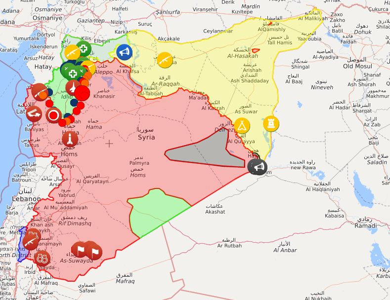 Mappa in Siria (Syrialiveuamap)