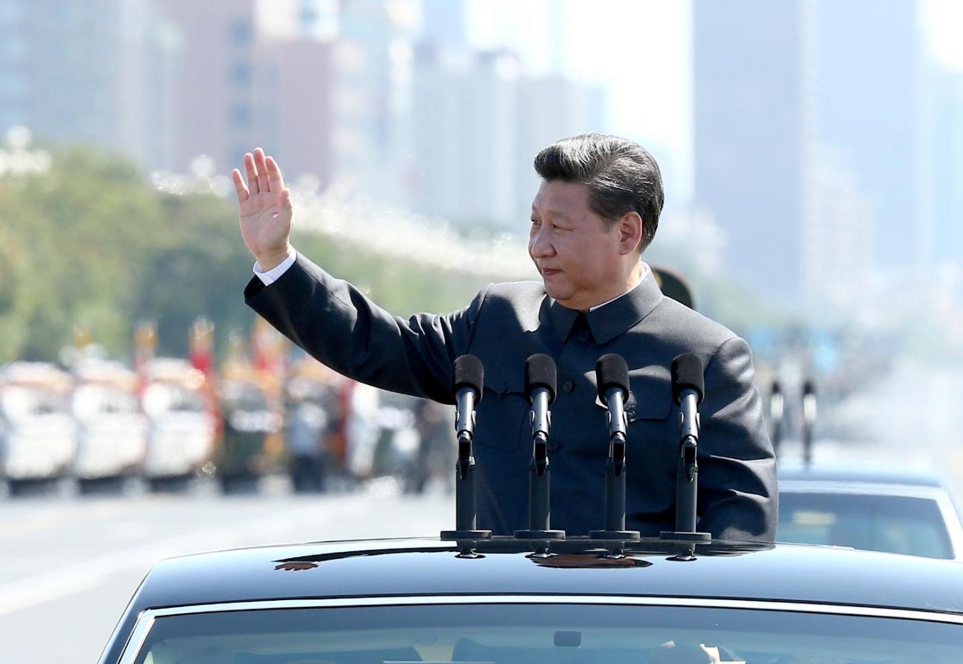 Il presidente della Cina, Xi Jinping, alla grande parata per il 70esimo anniversario della fine della Guerra (LaPresse)
