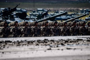 Chinese troops parade at the end of the day of the Vostok-2018 (East-2018) military drills at Tsugol training ground not far from the borders with China and Mongolia in Siberia, on September 13, 2018. (Photo by Mladen ANTONOV / AFP)