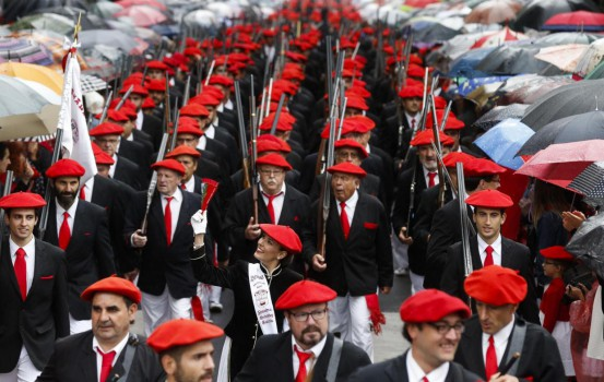 A company of the National Patriotism Display is seen during the celebration of Display Day in Irun, Basque Country, Spain, 30 June 2017. During Display Day, women only take part in the parade as Vivandieres during Saint Martial local fiestas. EFE/Javier Etxezarreta