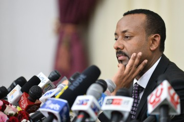 Ethiopia's Prime minister Abiy Ahmed speaks during a press conference at his office in Addis Ababa, on August 25, 2018. (Photo by Michael Tewelde / AFP)