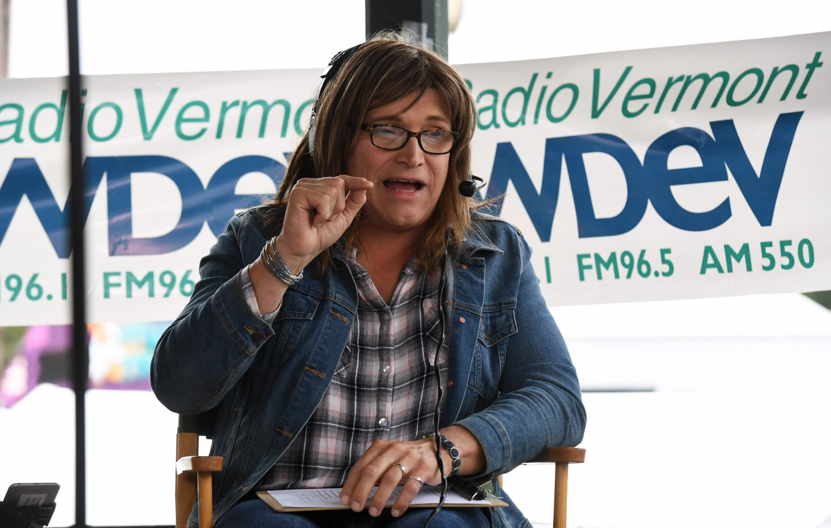 Christine Hallquist, Vermont Democratic gubernatorial challenger, answers questions during a debate with Vermont Governor Phil Scott September 14, 2018 at the Tunbridge World's Fair in Tunbridge Vermont. (Photo by Don EMMERT / AFP)