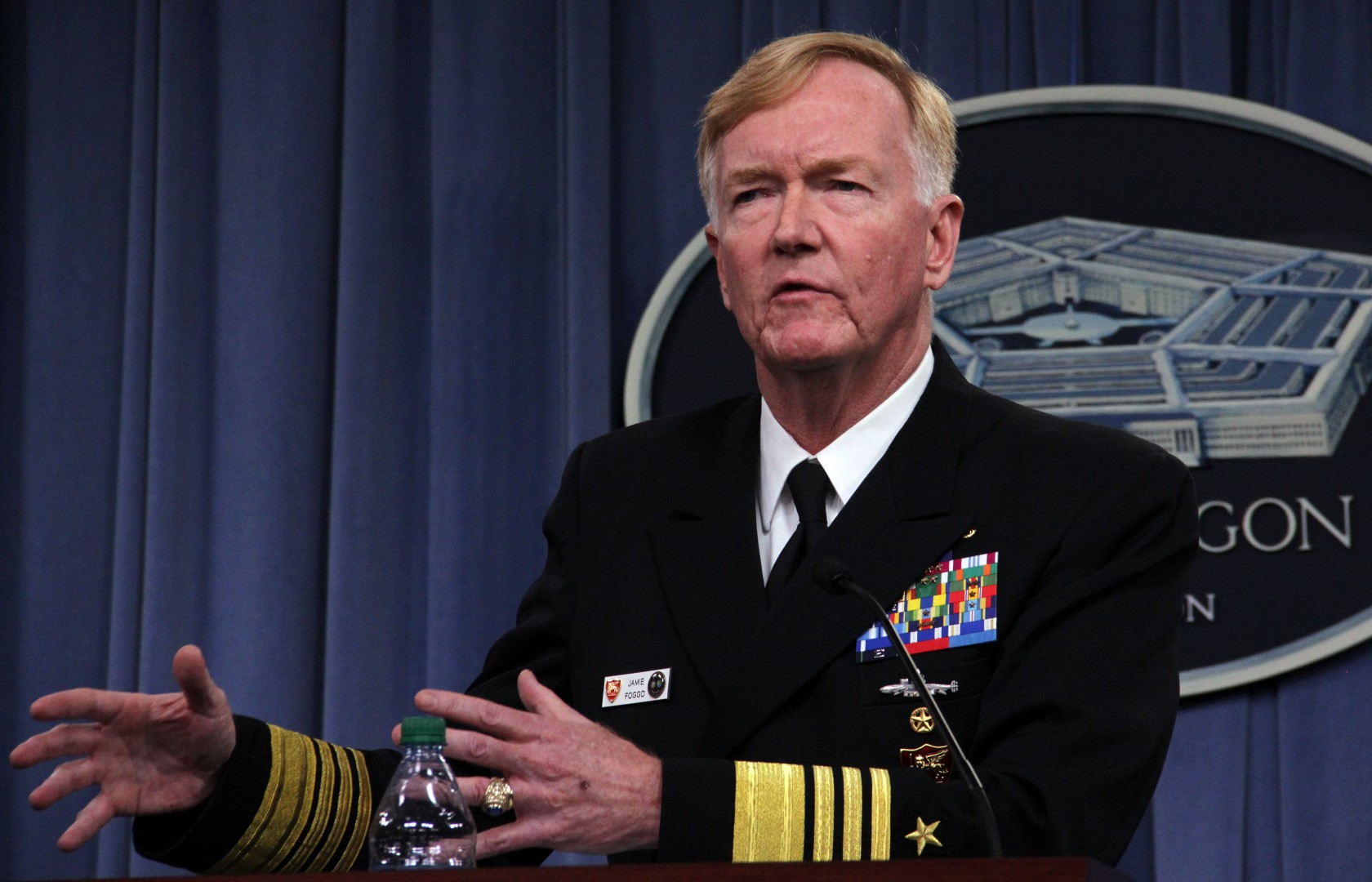 "Admiral James Foggo, who heads US Naval Forces Europe and other key commands, addresses Pentagon reporters on October 5, 2018 in Washington, DC. - Foggo said Russia is investing heavily in its submarine fleet to build an ""asymetric"" threat to the US and NATO in the Atlantic and Mediterranean. (Photo by Thomas WATKINS / AFP)"