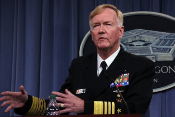 """Admiral James Foggo, who heads US Naval Forces Europe and other key commands, addresses Pentagon reporters on October 5, 2018 in Washington, DC. - Foggo said Russia is investing heavily in its submarine fleet to build an """"asymetric"""" threat to the US and NATO in the Atlantic and Mediterranean. (Photo by Thomas WATKINS / AFP)"""