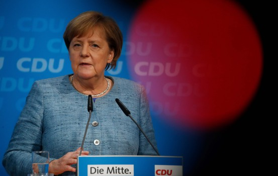 German Chancellor Angela Merkel addresses a press conference in Berlin on October 21, 2018 ahead of next weekend's regional elections in the west German state of Hesse. (Photo by Odd ANDERSEN / AFP)