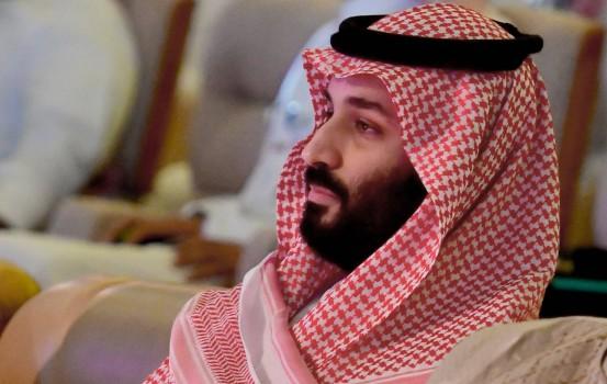 "Saudi Crown Prince Mohammed bin Salman attends the Future Investment Initiative FII conference in the Saudi capital Riyadh on October 24, 2018. - The summit, nicknamed ""Davos in the desert"", has been overshadowed by growing global outrage over the murder of a Saudi journalist inside the kingdom's consulate in Istanbul. (Photo by GIUSEPPE CACACE / AFP)"