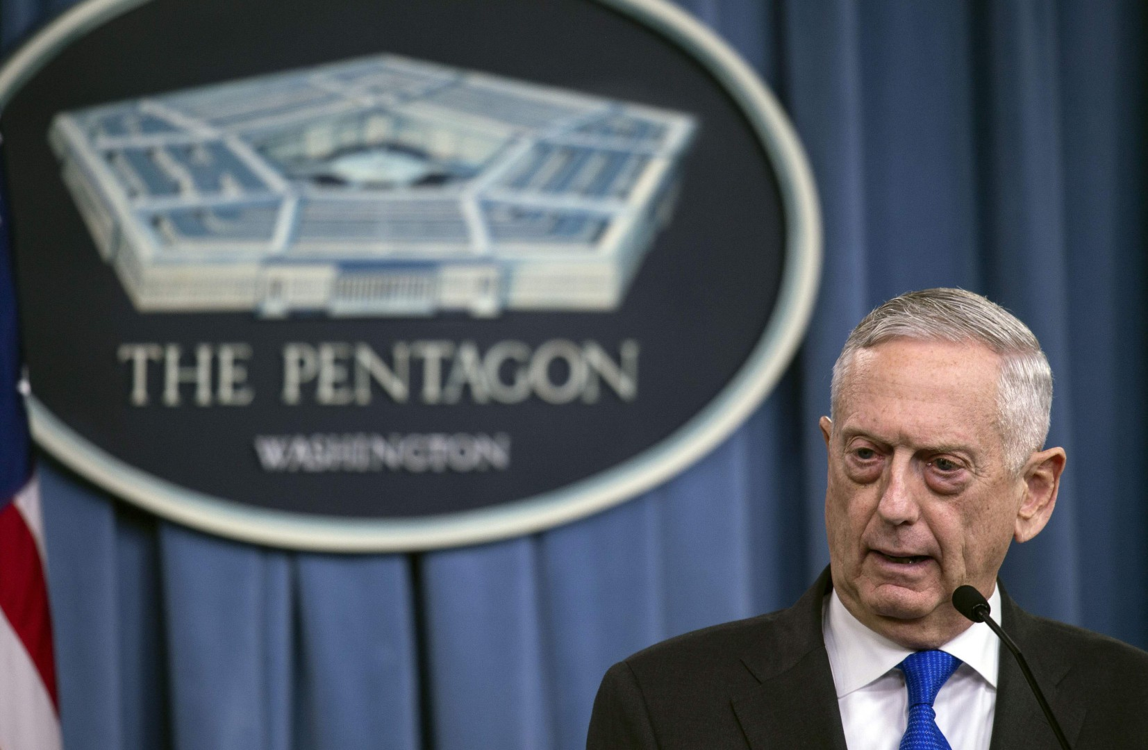 (FILES) In this file photo taken on August 28, 2018, US Defense Secretary Jim Mattis holds a press conference at the Pentagon in Washington, DC. - Mattis announced plans on September 11, 2018, to visit Macedonia, ahead of a referendum that could end a years-long spat with Greece over the country's name and pave the way for it to join NATO. (Photo by NICHOLAS KAMM / AFP)