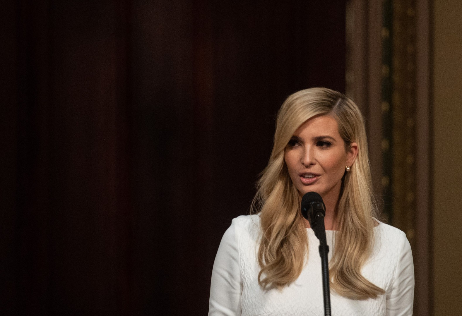 Ivanka Trump, adviser and daughter of US President Donald Trump, addresses the Interagency Task Force to Monitor and Combat Trafficking in Persons annual meeting at the White House in Washington, DC, on October 11, 2018. (Photo by NICHOLAS KAMM / AFP)