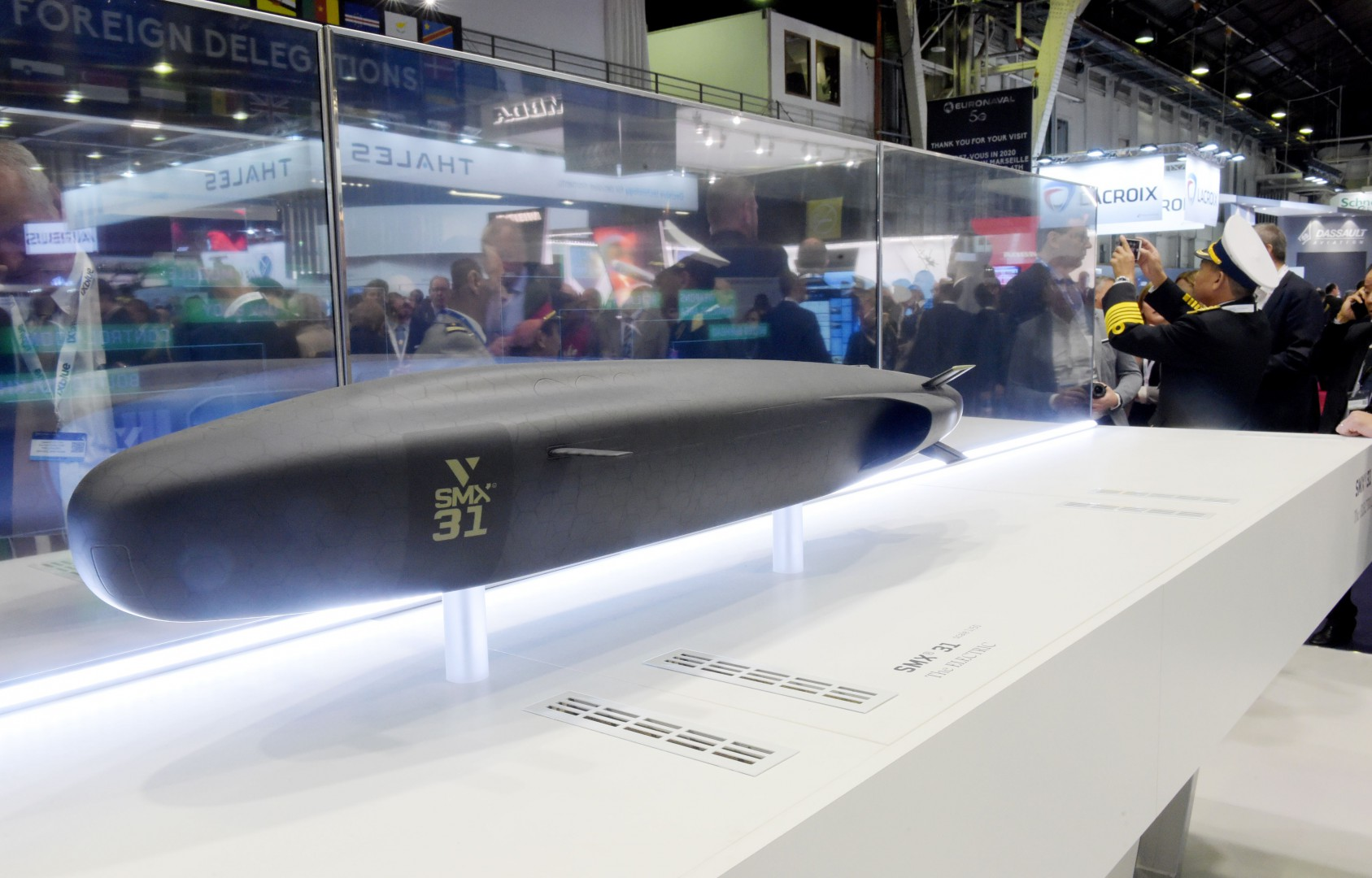 A picture taken at the Euronaval 2018, naval defence equipment fair, in Le Bourget, near Paris on October 23, 2018 shows a model of Naval Group's concept SMX 31 submarine. (Photo by ERIC PIERMONT / AFP)