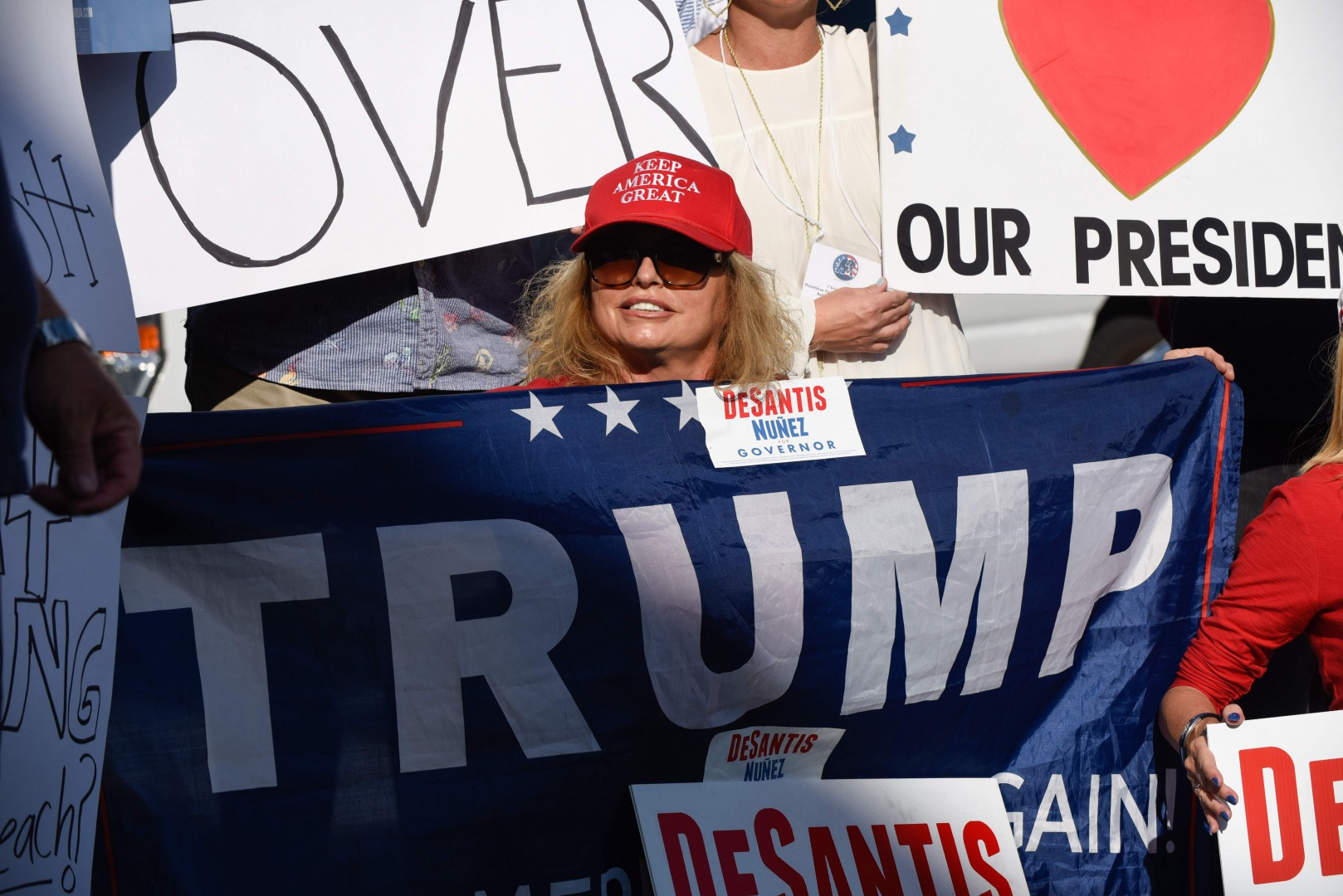 Republican Supporters gather on November 15, 2018, as Palm Beach County did not meet the midterm recount deadline in West Palm Beach, Florida. - Final results have yet to be declared in multiple races following last week's midterm polls, with tense recounts underway in Florida. (Photo by Michele Eve Sandberg / AFP)