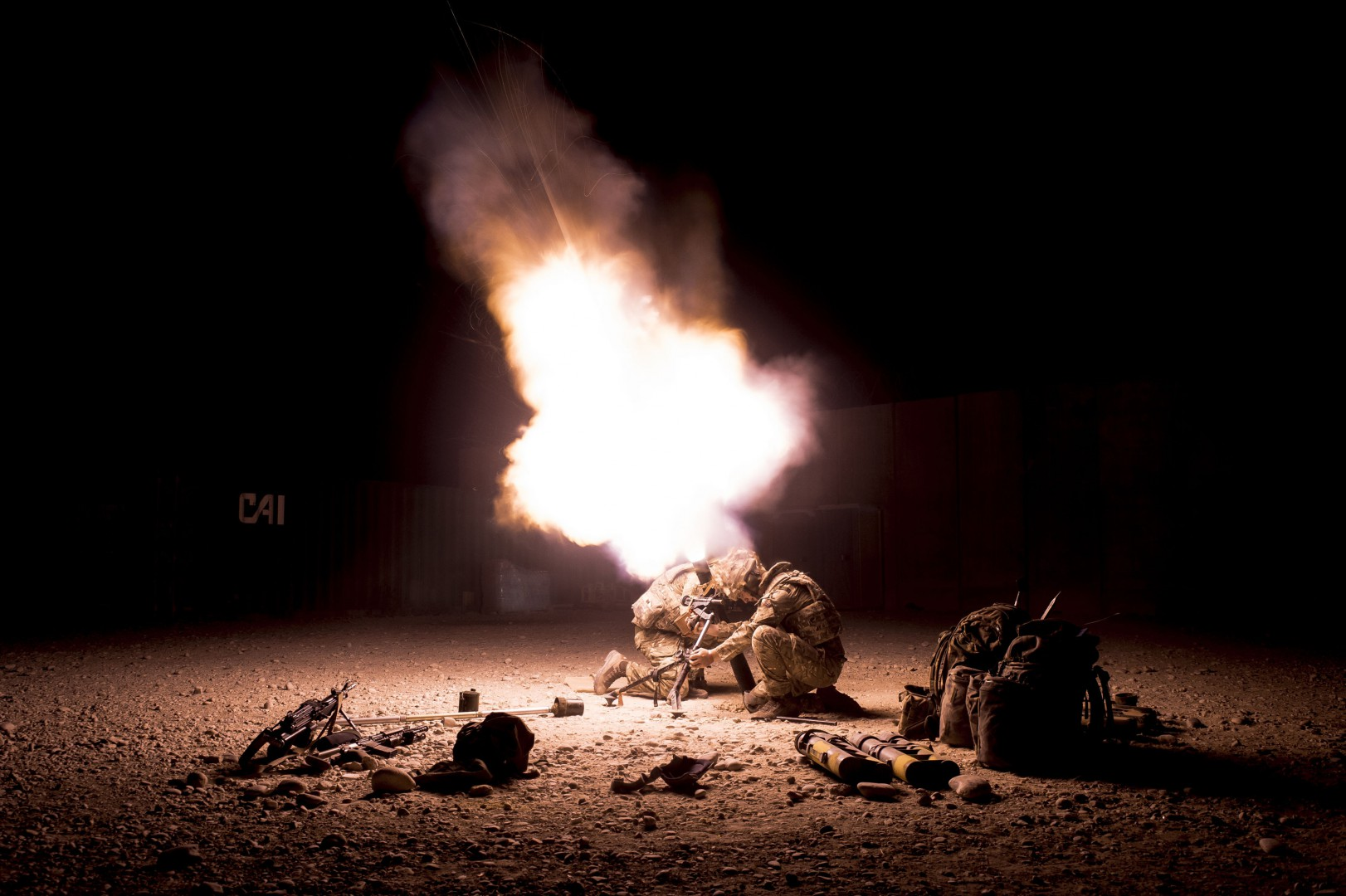 File photo dated 26/10/14 of mortars firing off over the perimeter of Camp Bastion, Helmand Province, Afghanistan, as the Ministry of Defence announced that women could be allowed to serve in British Army infantry and armoured units for the first time pending further research. PRESS ASSOCIATION Photo. Issue date: Friday December 19, 2014. A government-commissioned review which began earlier this year has recommended close combat roles are opened to women. See PA story DEFENCE Women. Photo credit should read: Ben Birchall/PA Wire