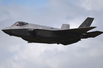 A Lockheed Martin F35A Lighnting II displays during the Royal International Air Tattoo at RAF Fairford - the world's largest military airshow. PRESS ASSOCIATION Photo. Picture date: Sunday July 10, 2016. Photo credit should read: Andrew Matthews/PA Wire
