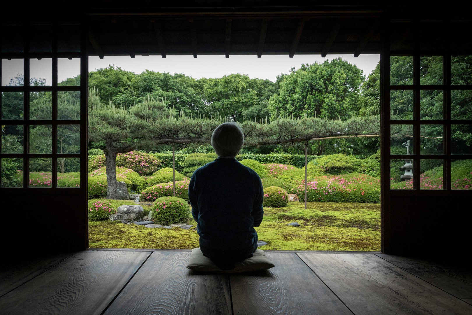 In this picture taken on May 23, 2018 Japanese gardener Chisao Shigemori sits in front of a Japanese garden covered with different types of moss in Kyoto. In recent years, moss enthusiasts have multiplied in Japan, with hikes catering to those eager to spot different varieties and shops selling the plants in terrariums well suited to small Japanese homes.  / AFP PHOTO / Quentin Tyberghien / TO GO WITH AFP STORY LIFESTYLE-JAPAN-ENVIRONMENT-TOURISM-GARDEN-MOSS,FEATURE BY HARUMI OZAWA