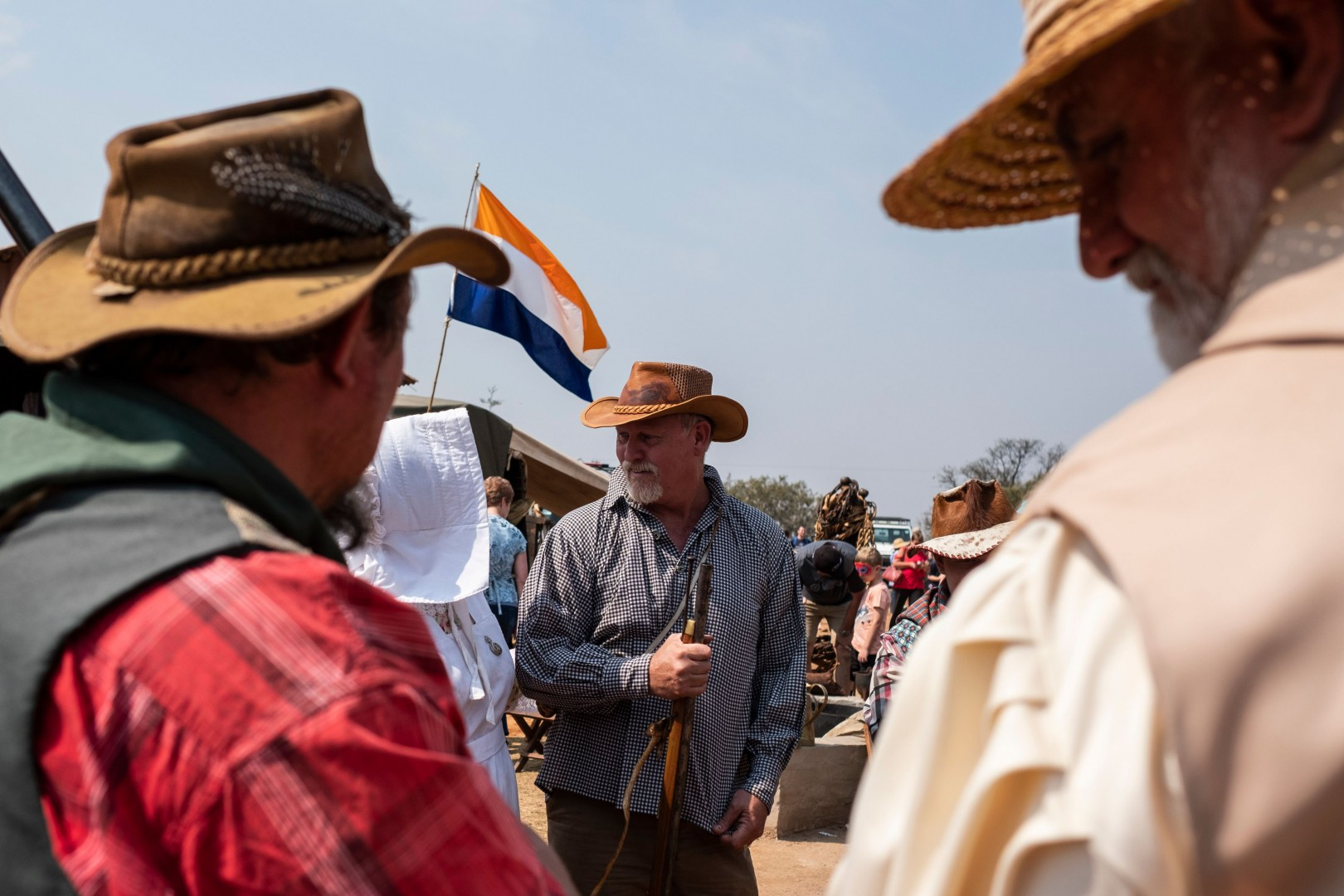 A man dressed in traditional Voortrekker (Boer who took part in the Great Trek migration from the Cape colony towards east and north in the 1830') attire, holds a Flintlock gun at the Voortrekker Monument on Heritage Day on September 24, 2018. - People of Afrikaner descent gathered at the Voortrekker Monument in Pretoria on September 24, 2018 to celebrate Heritage day. (Photo by WIKUS DE WET / AFP)