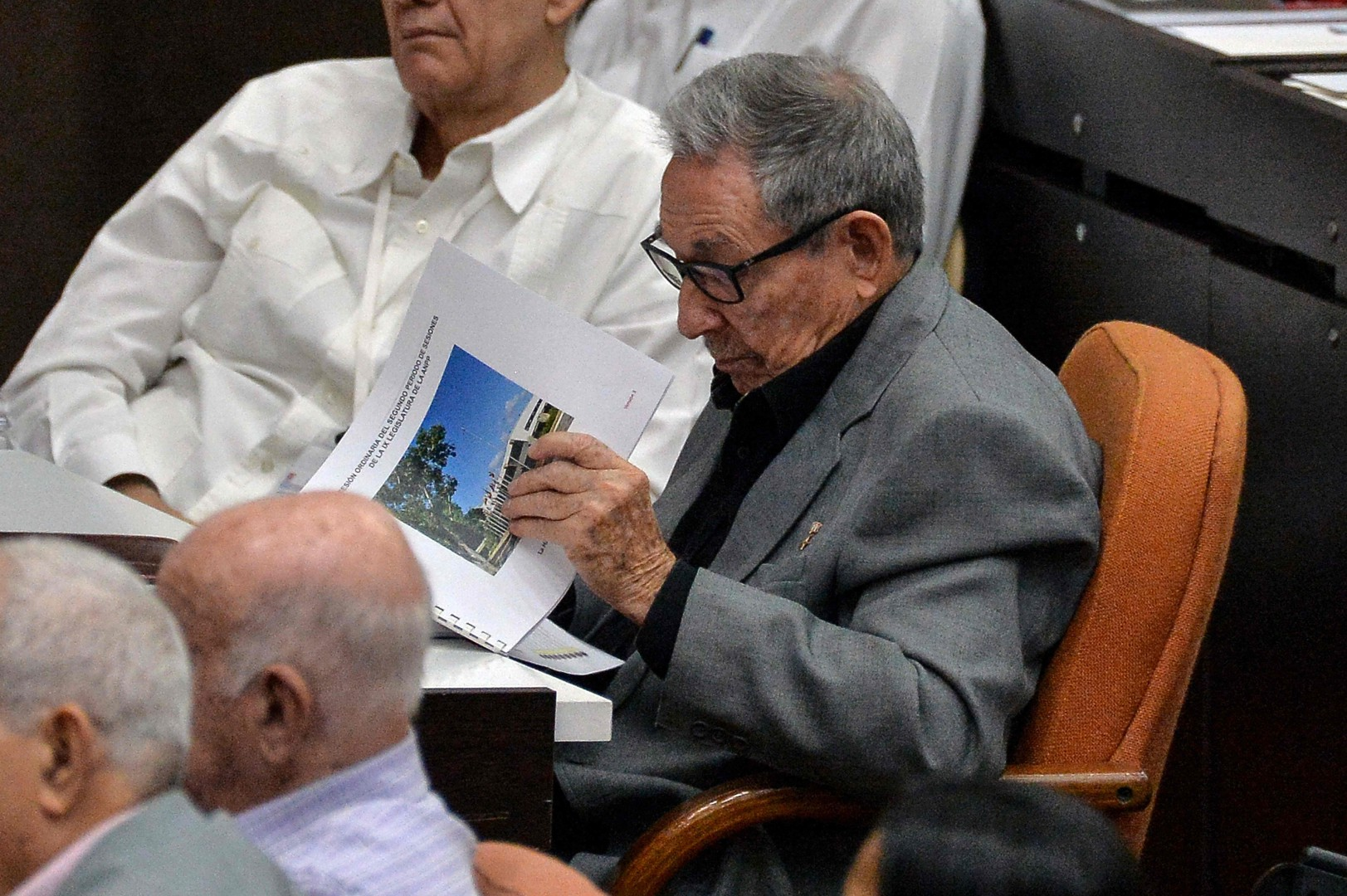 The First Secretary of the Cuban Communist Party, Cuban former President Raul Castro, attends the debate on the draft new Constitution, during the second regular session of the IX Legislature of the Cuban National Assembly of the Popular Power at the Convention Palace in Havana, on December 21, 2018. - Cuban Parliament meets on Friday to approve the draft new Constitution amended with the contributions of the population, that puts on hold homosexual marriage. The draft will be submitted to a popular referendum on February 24, 2019. (Photo by YAMIL LAGE / AFP)