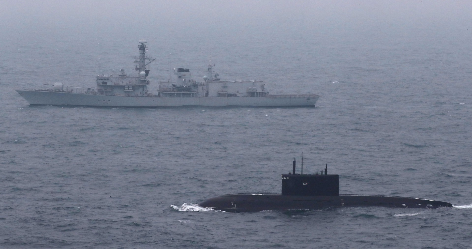 Ministry of Defence handout photo dated 06/05/17 of Royal Navy Type 23 Frigate HMS Somerset escorting a Russian submarine through the English Channel. PRESS ASSOCIATION Photo. Issue date: Monday May 8, 2017. HMS Somerset located the diesel-electric submarine Krasnodar off the east coast of the UK on Friday morning. See PA story DEFENCE Russia. Photo credit should read: LPhot Dan Rosenbaum/Royal Navy/MoD/Crown copyright/PA Wire  NOTE TO EDITORS: This handout photo may only be used in for editorial reporting purposes for the contemporaneous illustration of events, things or the people in the image or facts mentioned in the caption. Reuse of the picture may require further permission from the copyright holder.