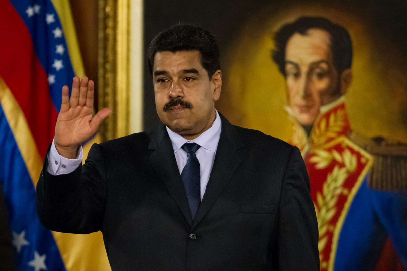 Venezuelan President Nicolas Maduro takes part at the installation of the Truth Commission on political violent events occured in the country during the last years in Caracas, Venezuela, 12 April 2016. The commission was proposed by the Venezuelan President at the begining of the year in order to stop the Amnesty Law proposed by the Parliament. EFE/Miguel Gutierrez