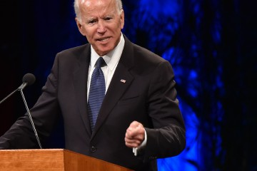 """(FILES) In this file photo taken on August 30, 2018 former US vice president Joe Biden speaks during the memorial service for the late US Senator John McCain at the North Phoenix Baptist Church in Phoenix, Arizona. - Democratic former US vice president Joe Biden has conceded that his advanced years would be an issue if he ran for president in 2020. At 75, Biden is three years older than Republican President Donald Trump and would be 77 by the time his party's primary contest got underway.""""I think age is a totally legitimate thing to raise,"""" said Biden, who was vice president under Barack Obama, during a speech in Michigan on October 16, 2018. (Photo by Robyn Beck / AFP)"""