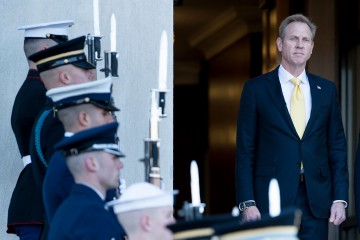 (FILES) In this file photo taken on November 20, 2017 US Deputy Secretary of Defense Patrick Shanahan listens to the US National Anthem during an honor cordon outside the Pentagon in Washington, DC. - Patrick Shanahan, who on January 1, 2019 becomes the acting US secretary of defense, takes the helm of America's massive military machine at a critical time. (Photo by Brendan Smialowski / AFP)