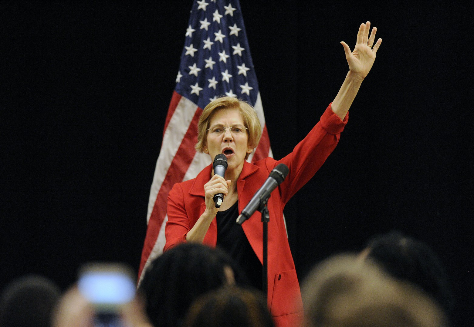 (FILES) In this file photo taken on October 13, 2018 US Senator Elizabeth Warren (D-MA) addresses a town hall meeting in Roxbury, Massachusetts. - Democratic Senator Elizabeth Warren -- a fierce critic of Donald Trump -- on December 31, 2018 took a major step towards a likely run for president, seeking to upset the incumbent Republican in 2020. The 69-year-old Warren, who has represented Massachusetts in the Senate since 2013, is a progressive Democrat. She said she was launching an exploratory committee for president, which would help her raise funds early in the campaign cycle. (Photo by Joseph PREZIOSO / AFP)